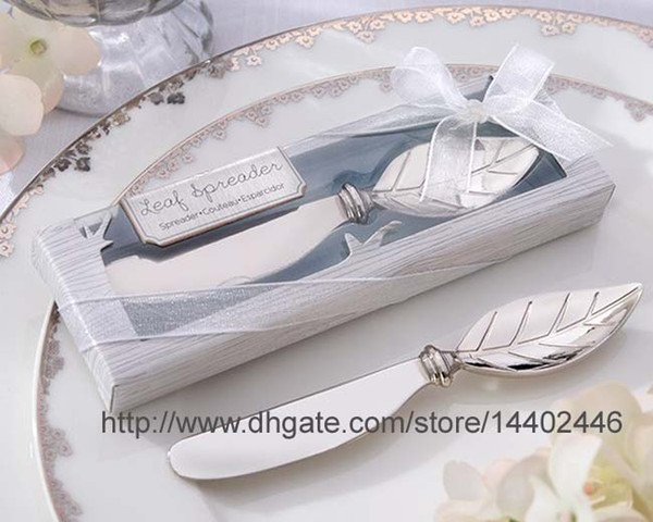 100pcs Chrome Leaf Spreader Autumn Fall Theme Bridal Shower Butter knife Cheese tool Wedding Gift Favors