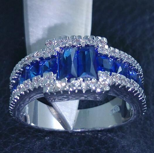 FREE SHIPPING Size 9/10/11 100% Brand new Fashion Jewelry 10kt white gold filled Blue Sapphire Gem Men Wedding Ring