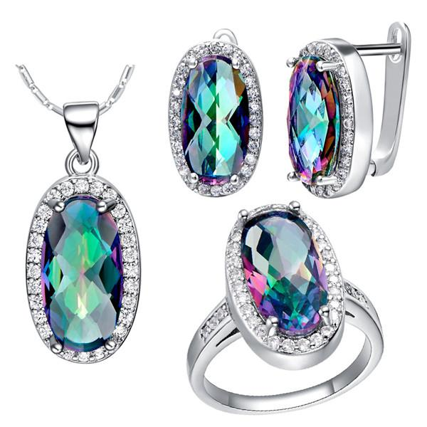 4PCS/SET Brand New Hot Sale Genuine Rainbow Fire Mystic Topaz Oval Pendant Necklace Rings Earrings For Women 925 Sterling Silver Jewelry Set