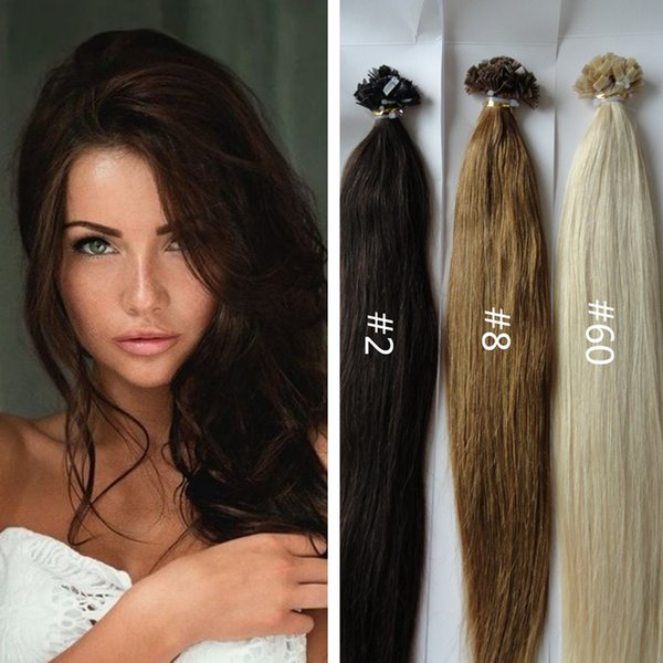 Pre Bonded Flat Tip Hair Extensions 8a Brazilian Hair Natural