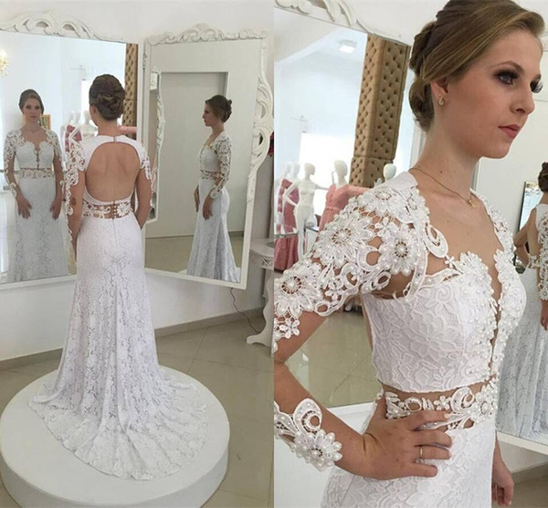 best selling Elegant Mermaid White Full Lace Wedding Dresses 2019 Sexy Open Back Sheer Long Sleeves Lace Beaded Bridal Gowns Custom Made