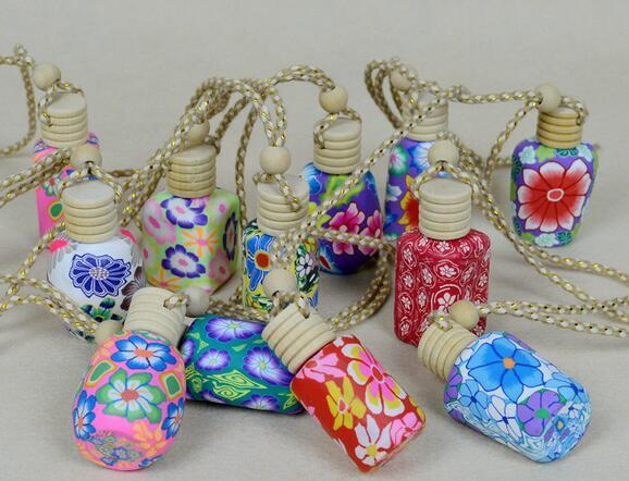 best selling New Arrive 15 ml Car hang decoration polymer clay essence oil Perfume bottle Hang rope empty bottle