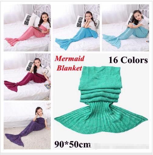 best selling 16 Colors 90*50cm Kids Handmade Knitted Mermaid Blankets Mermaid Tail Blanket Crochet Blanket Throw Bed Wrap baby Sleeping Bag 100pcs