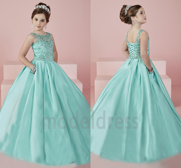 best selling New Shinning Girl's Pageant Dresses 2019 Sheer Neck Beaded Crystal Satin Mint Green Flower Girl Gowns Formal Party Dress For Teens Kids