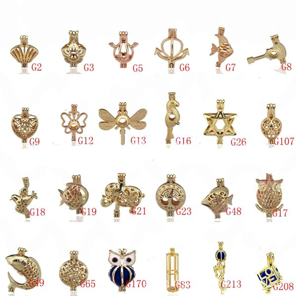 best selling Oyster Pearl Lockets Golden Tone Locket Cages Pendant DIY Jewery