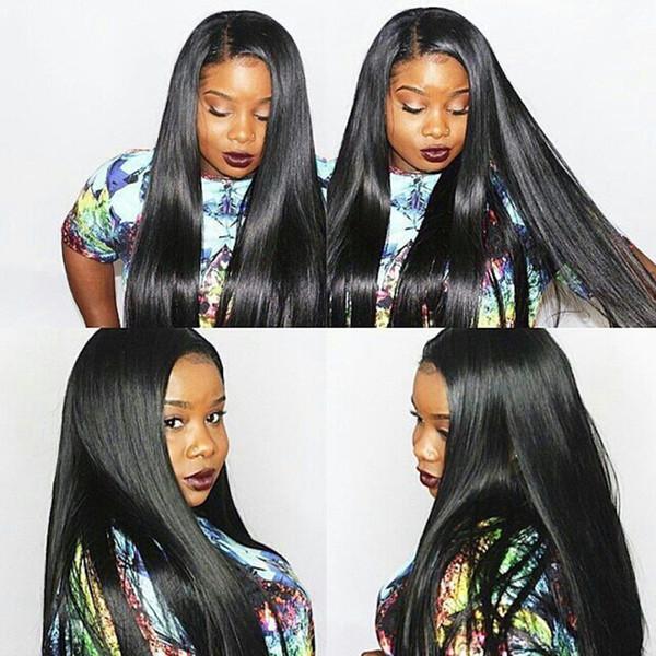 7A Siyah Kadınlar için Tam Dantel İnsan Saç Peruk Tutkalsız Tam dantel Peruk Brezilyalı Bakire Saç Düz Dantel Ön İnsan Saç Peruk