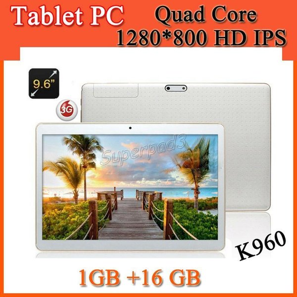 9.6 Inch 3G Android Phone Call Phablet K960 1280*800 IPS MTK6580 Quad Core 1GB 16GB 5MP Camera WCDMA Unlocked Tablet PC DHL