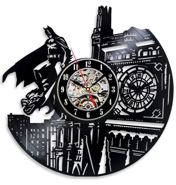 top popular Vinyl Evolution Batman Dark Knight Wall Clock, Black 2019
