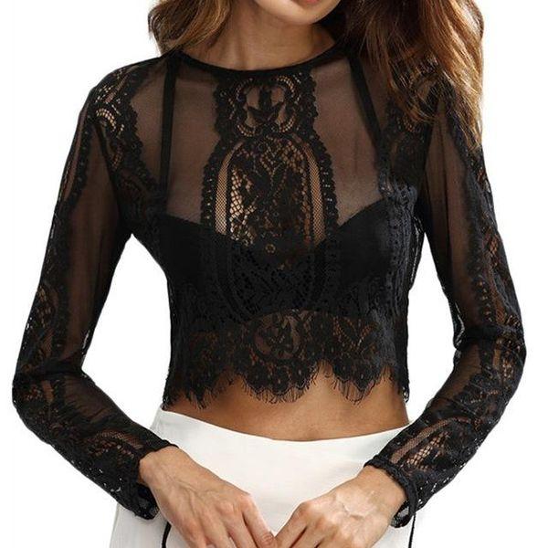 Blusas para mujer 2018 Summer Crochet Crop Tops O cuello blusa de manga larga camisas Sexy Back Zipper Blusas Pullover Plus Size
