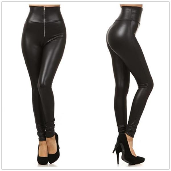 Neue Kunstleder Leggings Sexy Mode High-taille Stretch Material Frauen Leggings Frauen Dünne Hosen Reißverschluss Jeggings LG001