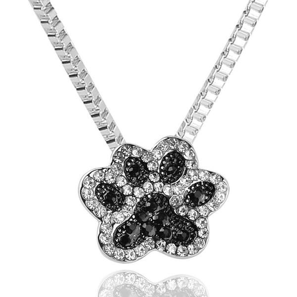 León oso lobo Tiger gato kittey gatito perro Paw Claw impresiones collar Studded completo negro rhinestone huellas colgante handprint collar x305