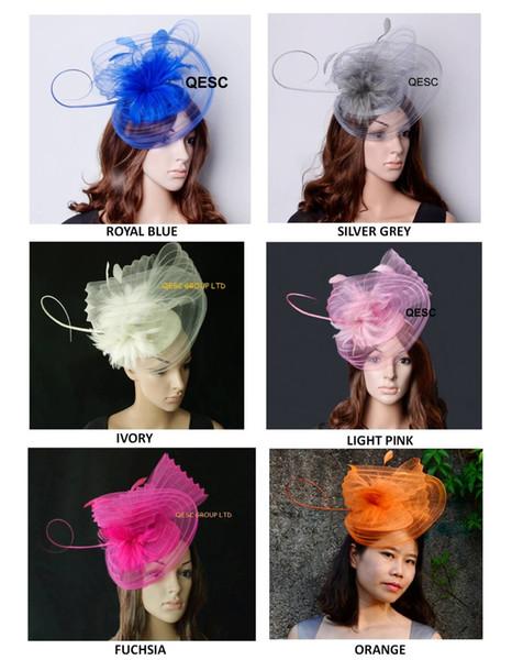 New colours.LARGE Sinamay Hat fascinator crin Fascinator com penas e longa coluna de avestruz para Kentucky Derby, casamento.