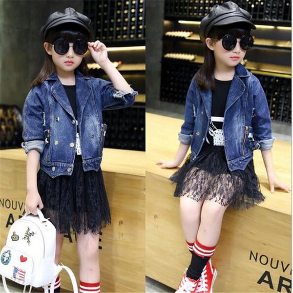 a4c172b81b 5pcs nuova giacca / coreano bambine giacca di jeans giacca di cotone e  vestiti alla moda