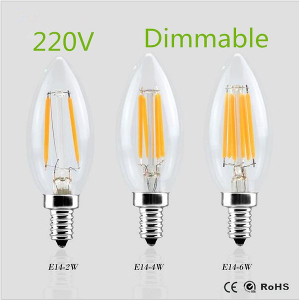 Super Bright E14 LED Filament Candle Bulbs 220v 360 Degree Edison Bulb Ampoule Led Lamp Light Replace Incandescent Energy Saving Dimmable