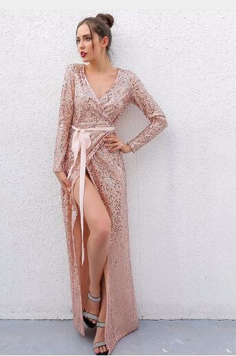 2018 Sexy Club Wear Party Dress Женская Розовое Золото Узел Глубокий V Шеи Твист Передняя Высокая Щель С Длинным Рукавом Блесток Maxi Dress