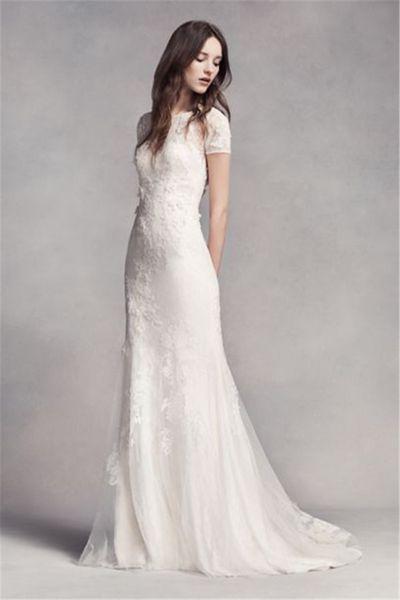 best selling Short Sleeve Lace Wedding Dress High Neckline Wedding Dress VW351312 3D Lace Floral Applique Mermaid Bridal Dress