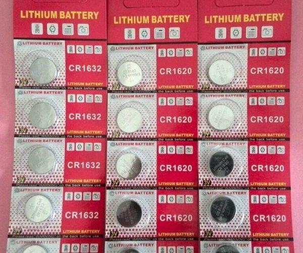 CR1632 3 v lityum düğme pil, madeni para hücreleri 200 Blister kart / Lot (blister başına 5 adet)