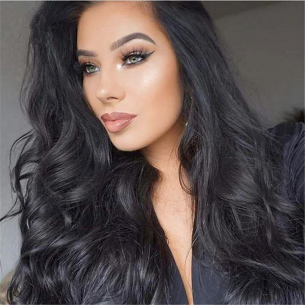For Black Women Virgin Peruvian Full Lace Gluless Human Hair Wigs Body Wave Lace Front Human Hair Wigs 130 Density Bleached Knots