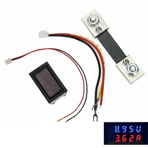 Amperímetro Voltímetro Digital DC 200V 100A LED Amp Volt Medidor + Current Shunt B00327