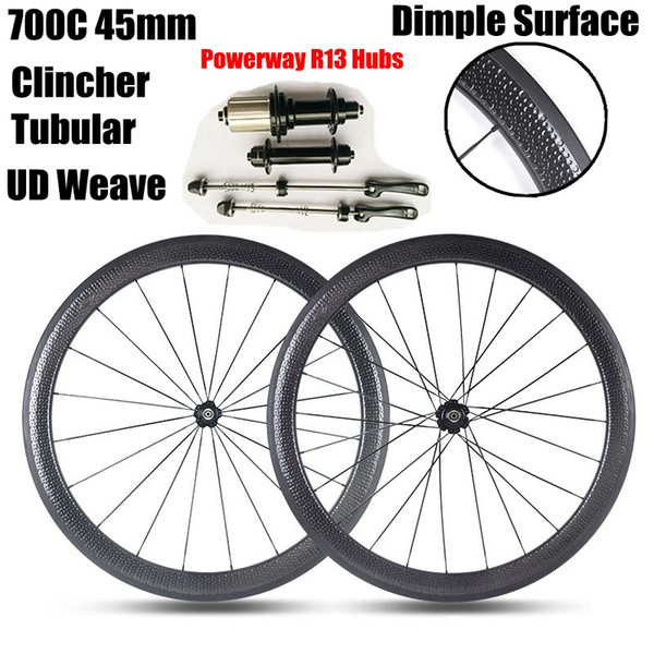 Superficie de golf Dimple Carbon Wheels Powerway R13 Hubs 700C 45MM Profundidad 25mm Ancho Tubular Clincher UD Weave Road Bicicleta Wheelset