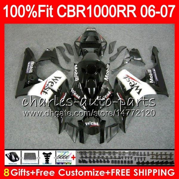 Injection Body For HONDA CBR 1000RR CBR1000 RR 06 07 Bodywork Black west 78HM24 CBR1000RR 06 07 CBR 1000 RR 2006 2007 Fairing kit 100% Fit