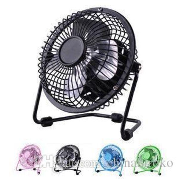 """USB mini Fan Electric 4"""" Metal Head 360 Rotate Metel Mute Radiator Fan Mini Portable Cooler Cooling Desktop Power PC Laptop Desk Fan"""