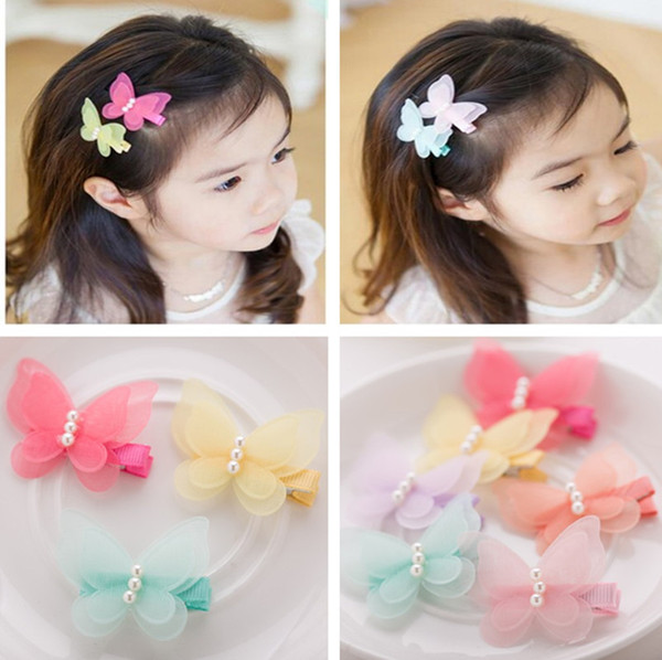 Wholesale 40pcs /6c Fashion Cute Gauze Butterfly Girls Hairpins Solid Kawaii Chiffon Animal Hair Clips Headware Hair Accessories