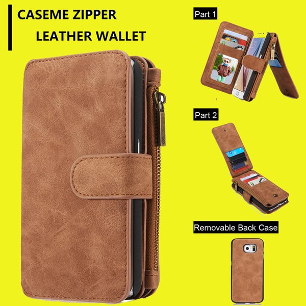 For iphone 6 6plus S7 Multi-functional 2in1 Magnet Detachable Removable Vintage Cover PU Leather Wallet Case For Samsung Galaxy S5 S6 SCA172