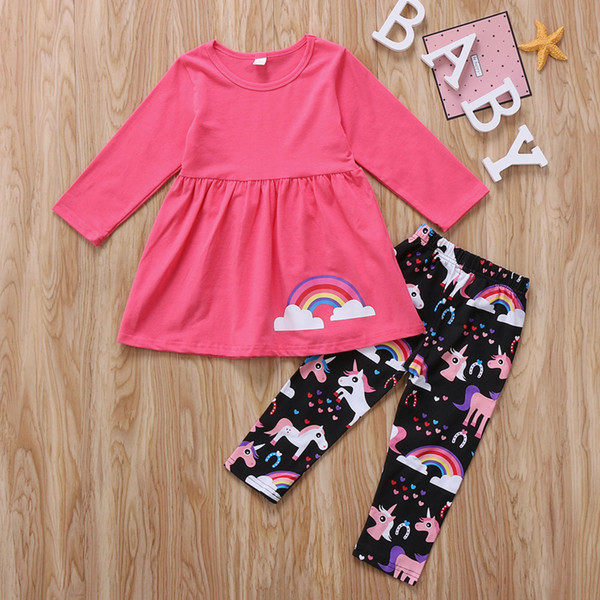 0b2a7e04181 Baby girl clothes outfit unicorn rainbow pink T-shirt top + pant 2 pieces a  set lovely girls kid clothing preppy dress wholesale suits