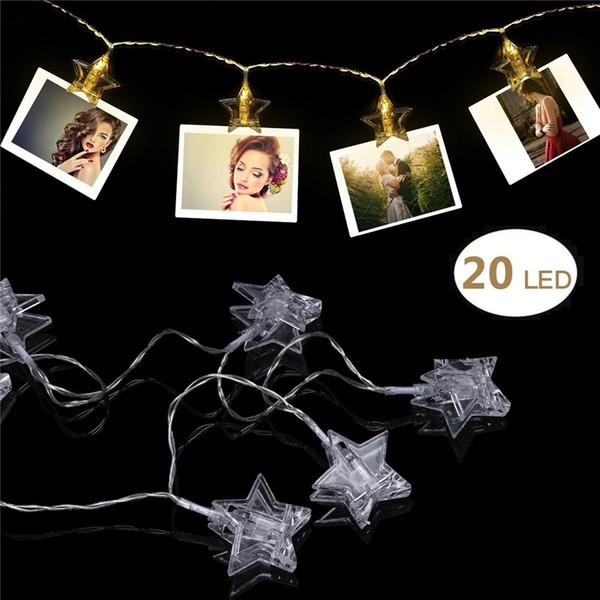 3M 20 luces de la secuencia del clip de la estrella del LED Luces de Navidad del banquete de boda para la decoración y el colgante de las fotos de las ilustraciones Tarjetas Tarjetas Alimentado por batería
