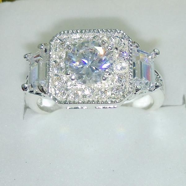 Tamaño 5-12 joyas Venta caliente topacio blanco 925 plata llena mujeres Gema Anillo de regalo