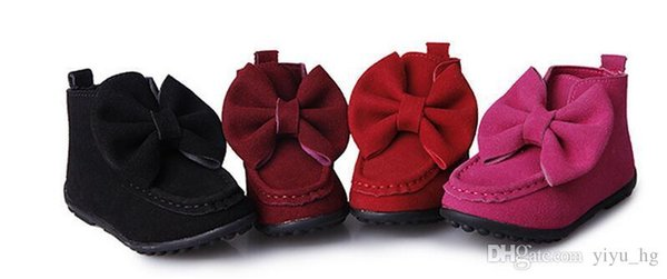 New Children Baby Girls Boots Autumn Fashion Leather Bow Kid Bootes Girl Shoes Birthday Gift Size 21-36cm