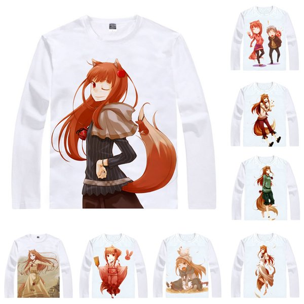 Anime Shirt Merchant Meats Spicy Wolf T-Shirts Multi-style Long Sleeve Holo The Wise Wolf Cosplay Motivs Kawaii Shirts