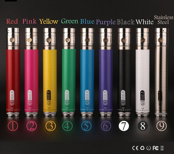 Wholesale GS EGO II Twist 2200mah Battery E-cigarette Bottom Twist Variable Voltage 3.3v-4.8v GS EGO 2 battery with Decoration Ring