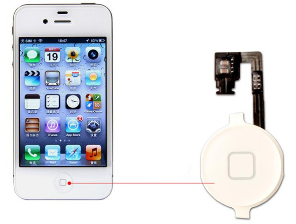 Hauptmenü-Knopf-Schlüsselkappe-Flexkabel-Klammer-Halter stellte Versammlung für iPhone 4 4G 4S CDMA Schwarz-Weiß-Ersatz-Teil 2PCS / Lot ein