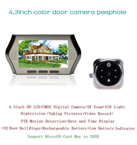Hot peephole door camera 4.3inch LCD 0.3Megapixels PIR motion detection IR night vision 32 Rings Multi-language peephole camera