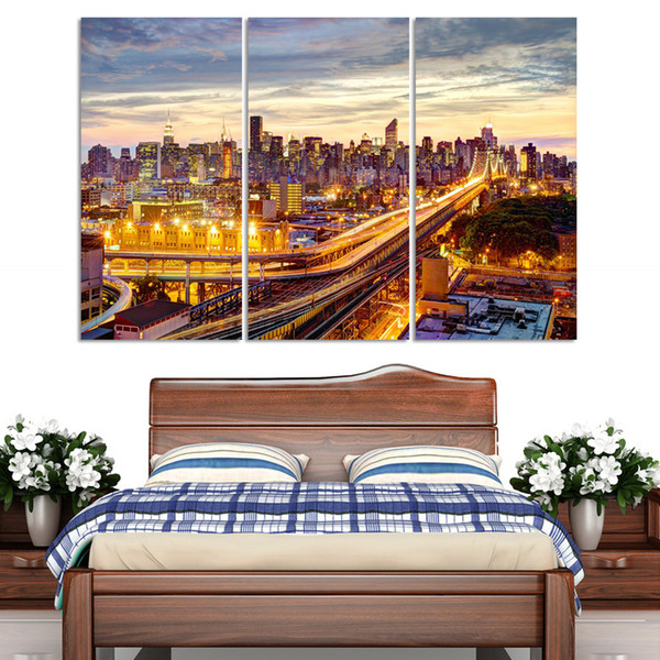 3Pcs/Set Modern Picture Canvas Painting Wall Pictures For Living Room Quadro Cuadros Decoration Paris City building No frame