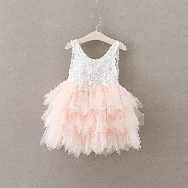 top popular Retail Summer New Girl Lace Dress Gauze Princess Vest Dress Girl Party Sundress Layered Dress Children Clothing E16900 2020