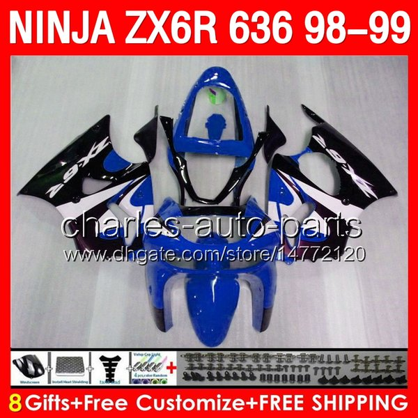 glossy blue 8gifts Body For KAWASAKI NINJA ZX6R 98 99 ZX636 600CC ZX600 28NO63 ZX 6R 1998 1999 ZX 636 ZX-6R 98-99 Fairing TOP blue black Kit