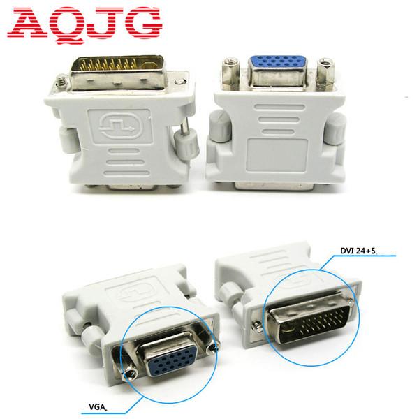 Toptan Satış - DVI-I 24 + 5 Erkek HD 15 Pin VGA SVGA Kadın Ekran Kartı Monitör LCD Dönüştürücü Adaptör Beyaz AQJG