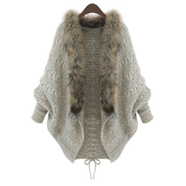 Wholesale- Luxury Women Loose Faux Fur Collar Cardigan Lady Autumn Winter Warm Batwing Sleeve Sweater Female Knitwear Coat Outwear Dec20