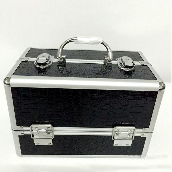 All'ingrosso- nero professionale maniglia Trucco Cosmetico Storage Train Caso Box in alluminio Organizzatore artista escursionista disegna