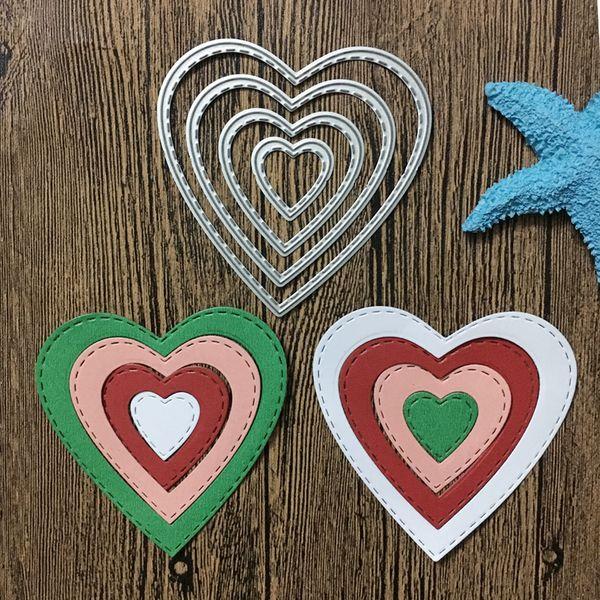 4pcs/set Love Heeart Frame Metal Steel Cutting Dies Stencil For DIY Scrapbooking Album Decorative Embossing Paper Cards Craft