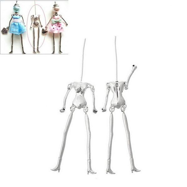 Pendenti della collana dei monili di fascini della lega di zinco del corpo umano misura colore argento / bronze di tono della bambola di DIY, 20PCs