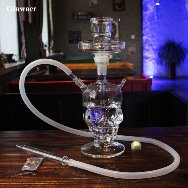 Glawaer Cool Skull Head Hookah Pequeño Shisha Glass Healthy Smoking Water Pipes Mejores regalos con Led Light Glass Narguile Chicha Glass Bongs