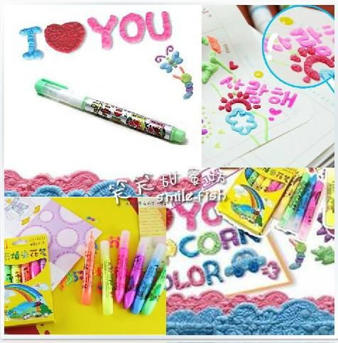 Free shipping Popular in South Korea DIY creative toys magical Popcorn pen Bubble pen Children painting gift 6 color suits