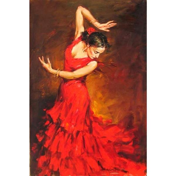 Schöne Ölgemälde Frau Flamenco Spanische Tänzerin Öl auf Leinwand Hochwertig handbemalt