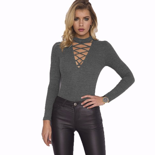 Donne Halter Full Sleeve Benda Sexy Body Nero Hollow Out Slim Bodycon Triangle Pagliaccetti Womens Tute Pantaloni un pezzo