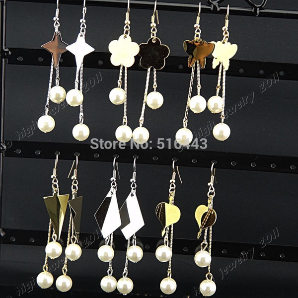 New Arrival 6Pairs Silver Gold Stainless Steel Fashion White Pearls Women Long Dangle Drop Earrings Wholesale Jewelry Lots A1063