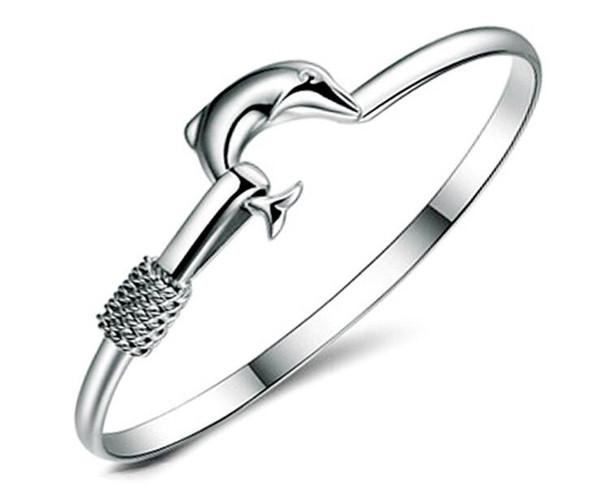 2017 Hot sale factory price 925 silver charm bangle Fine Noble mesh Dolphin bracelet Girl / Madam fashion jewelry 20pcs/lot